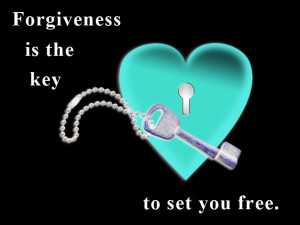 "A white keyhole in a flattened blue heart with a key on a black background, saying ""Forgiveness is the key to set you free."" (All colors inverted.)"