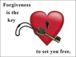 "A red heart with a keyhole and a key in front of it, with the words: ""Forgiveness is the key that will set you free."""