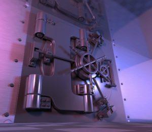 Large bank vault door.