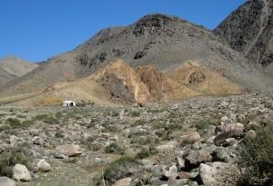 Mongolia desert with dry, rocky terrain.