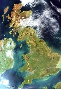 Satellite image of the United Kingdom.