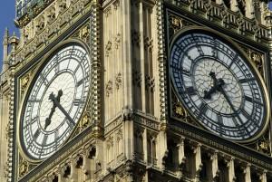 The Big Ben clock tower in London.