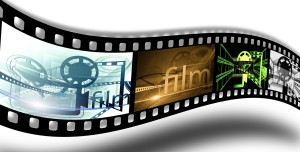 Colorful illustration of a film strip.