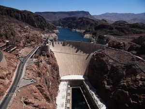 The Hoover Dam with its reservoir Lake Mead.
