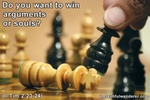 """The white king is defeated and tipped over in a chess match. The meme reads """"Do you want to win arguments or souls?"""""""