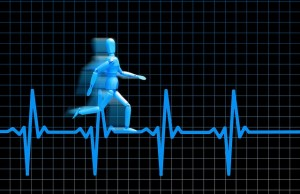 A heartbeat displayed with a blue cartoon figure running along the top of it.