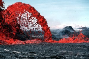 Volcanic eruption of a lava fountain.