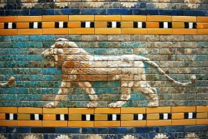 A Babylonian lion mosaic found in Berlin's Art Museum.