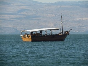 A modern day wooden boat on the Sea of Galilee.