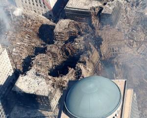 Aerial view of destruction at ground zero.