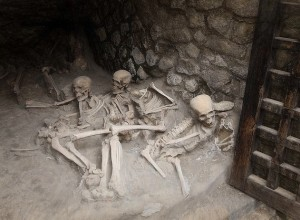 Skeletons of three people killed by the volcano Mt. Vesuvius in 79 AD.