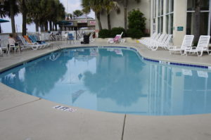 The kidney-shaped pool at the hotel in N. Myrtle Beach.