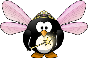 A cartoon penguin, dressed as a fairy godmother, with pink wings, a tiara and a magic wand.