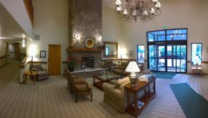 View of a hotel lobby.