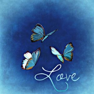 "A blue sign with three flying butterflies and the written word ""Love."""
