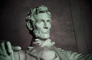 Close-up of Abraham Lincoln's statue in Washiington, DC.