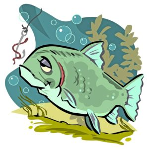 Cartoon of an indifferent adult fish, looking at a worm on a hook.