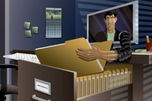 An identity thief reaching out of a computer and into a file cabinet to steal personal information.
