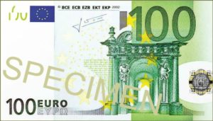 A 100 euros banknote is worth around 119 dollars currently.