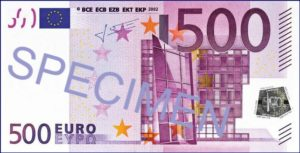 A 500 euros banknote is worth around 595 dollars currently..