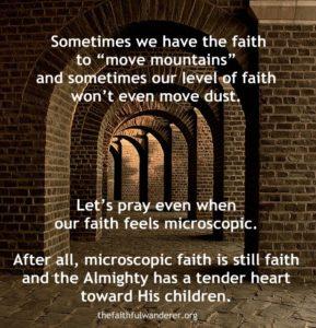 Microscopic faith meme. A series of brick archways curving away.