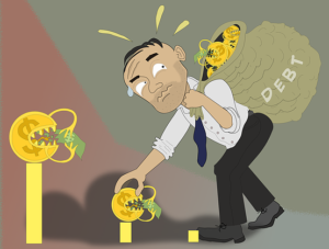 """Cartoon of a man with a sack labeled """"Debt."""""""
